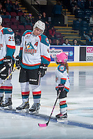 KELOWNA, CANADA - JANUARY 18: Gordie Ballhorn #4 of the Kelowna Rockets lines up on the blue line with the Pepsi player against the Moose Jaw Warriors on January 18, 2017 at Prospera Place in Kelowna, British Columbia, Canada.  (Photo by Marissa Baecker/Shoot the Breeze)  *** Local Caption ***