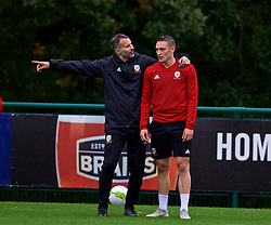 CARDIFF, WALES - Sunday, October 14, 2018: Wales' manager Ryan Giggs (L) with Connor Roberts during a training session at the Vale Resort ahead of the UEFA Nations League Group Stage League B Group 4 match between Republic of Ireland and Wales. (Pic by David Rawcliffe/Propaganda)