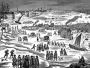 Frost Fair on the Thames at London 1683. Facsimile of a contemporary print.