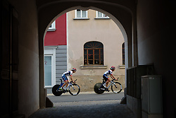 Joëlle Numainville heads out on a course recon with Ashleigh Moolman Pasio  at Thüringen Rundfarht 2016 - Stage 4 a 19km time trial starting and finishing in Zeulenroda Triebes, Germany on 18th July 2016.