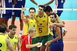 07.09.2014, Spodek, Katowice, POL, FIVB WM, Brasilien vs Kuba, Gruppe B, im Bild radosc siatkarzy Brazylii // during the FIVB Volleyball Men's World Championships Pool B Match beween Brazil vs Cuba at the Spodek in Katowice, Poland on 2014/09/07<br /> <br /> ***NETHERLANDS ONLY***