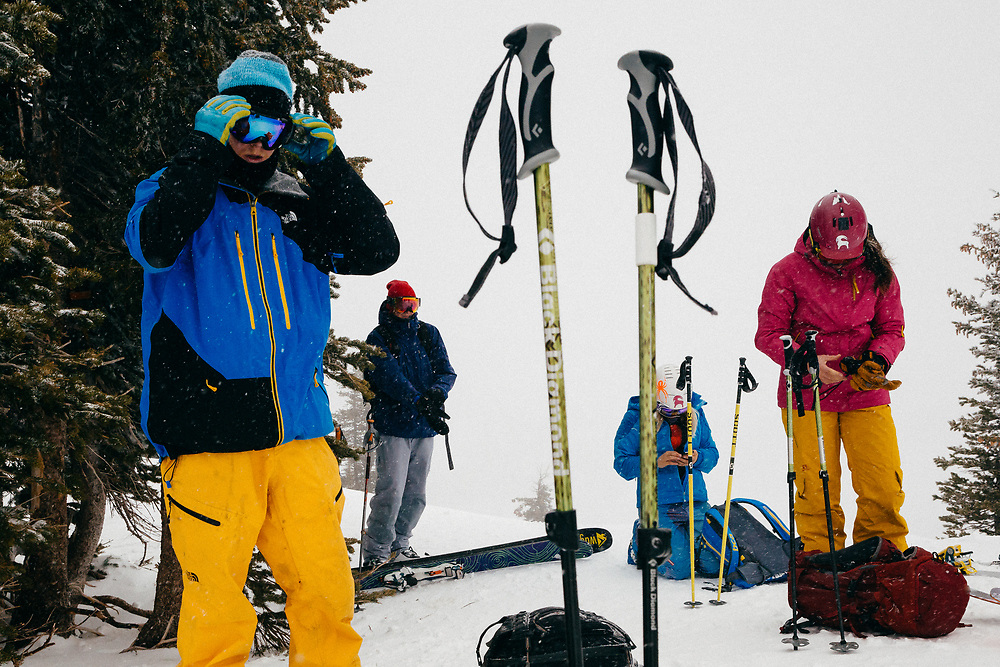 (Left to Right) Amon Barker, Tyler Hatcher, Jess McMillan, and Kim Havell post to social media while in the backcountry of the Tetons near Jackson Hole Mountain Resort, Teton Village, Wyoming.
