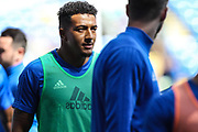Nathaniel Mendez-Laing of Cardiff City warms-up, before the EFL Sky Bet Championship match between Cardiff City and Queens Park Rangers at the Cardiff City Stadium, Cardiff, Wales on 26 August 2017. Photo by Andrew Lewis.