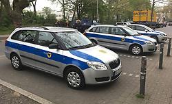 Police cars outside of the Signal Iduna Park home of Borussia Dortmund.