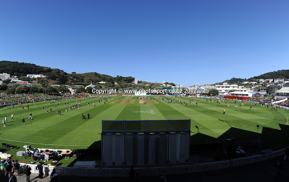 A general view of the Basin Reserve. Third Test, Day 3. New Zealand Black Caps versus South Africa Proteas, Basin Reserve, Wellington, New Zealand. Sunday 25 March 2012. Photo: Andrew Cornaga/Photosport.co.nz