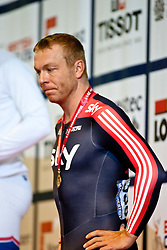 © Licensed to London News Pictures. 19/02/2011. Sir Chris HOY looks disapointed to be only taking home a Bronze Medal in the Mens Individual Sprint at the UCI Track World Cup in Manchester this evening (19/02/2011). Photo credit should read: Reuben Tabner/LNP