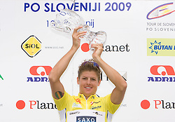 Jakob Fuglsang of Denmark (Team Saxo Bank) in yellow jersey as the best rider in general classification at the flower ceremony in Novo mesto after 4th stage of Tour de Slovenie 2009 from Sentjernej to Novo mesto, 153 km, on June 21 2009, Slovenia. (Photo by Vid Ponikvar / Sportida)