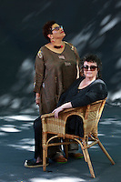 Edinburgh, UK. 17th August 2016. Edinburgh International Book Festival 5th Day. Edinburgh International Book Festival takes place in Charlotte Square Gardens. Edinburgh. Pictured Carol Ann Duffy and Jackie Kay. Pako Mera
