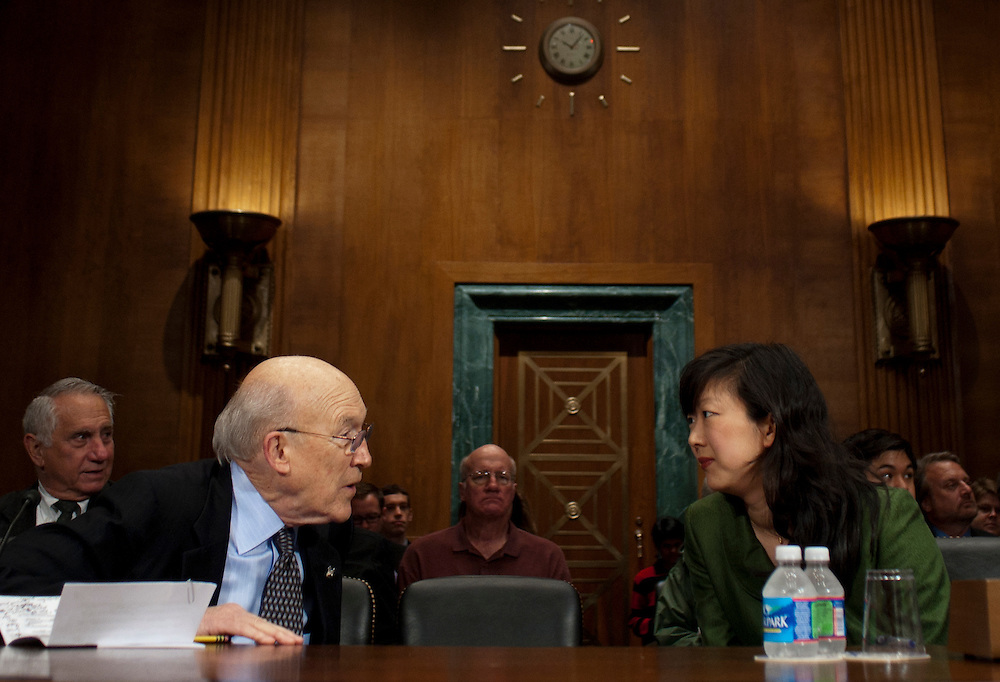 """Former Senator ALAN SIMPSON, (R-WY) and MONICA YOUN, senior counsel in the Democracy Program at the Brennan Center for Justice at NYU School of Law confer before a Senate Judiciary Subcommittee hearing on Campaign Finance Reform and """"The Fair Elections Now Act: A Comprehensive Response to Citizens United."""","""