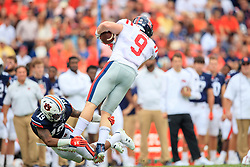 Auburn Tigers defensive back Nick Ruffin (19) attempts to tackle Mississippi Rebels tight end Dawson Knox (9) during an NCAA football game, Saturday, October 7, 2017, in Auburn, AL. Auburn won 44-23. (Paul Abell via Abell Images for Chick-fil-A Peach Bowl)