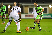 Forest Green Rovers Omar Bugiel(11) plays the ball forward during the EFL Trophy match between Forest Green Rovers and U21 Swansea City at the New Lawn, Forest Green, United Kingdom on 31 October 2017. Photo by Shane Healey.