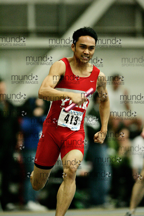 (Windsor, Ontario---13 March 2010) Randolph Fajardo of York University Yoemen  competes in the men's 4 X 200 meters at the 2010 Canadian Interuniversity Sport Track and Field Championships at the St. Denis Center. Photograph copyright GEOFF ROBINS/Mundo Sport Images. www.mundosportimages.com