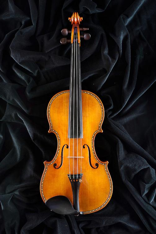 Violin manufactured by Fernando Soler.<br /> Madrid.<br /> <br /> Viol&iacute;n ornamentado al estilo del cuarteto de Stradivarius que se conserva en el Palacio Real de Madrid, fabricado por el luthier Fernando Soler Gonz&aacute;lez.