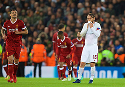 LIVERPOOL, ENGLAND - Tuesday, April 24, 2018: AS Roma's captain Daniele De Rossi looks dejected as Liverpool score the second goal during the UEFA Champions League Semi-Final 1st Leg match between Liverpool FC and AS Roma at Anfield. (Pic by David Rawcliffe/Propaganda)