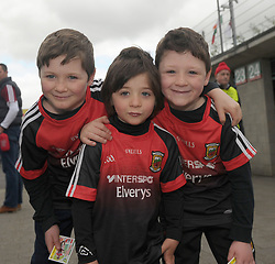Mayo supporters and brothers Liam, Shane Conor McGirl from Lacken on their way to McHale Park.<br />Pic Conor McKeown