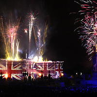 Fireworks light up Buckingham palace.PA picture David Cheskin