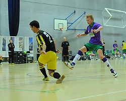 BCFC Futsal attempt a shot at goal against Gloucestershire Futsal's keeper- Photo mandatory by-line: Nizaam Jones - Mobile: 07966 386802 - 08/02/2015 - SPORT - Football - Gloucestershire - GL1 Leisure Centre - Gloucestershire Futsal v BCFC Futsal - Futsal