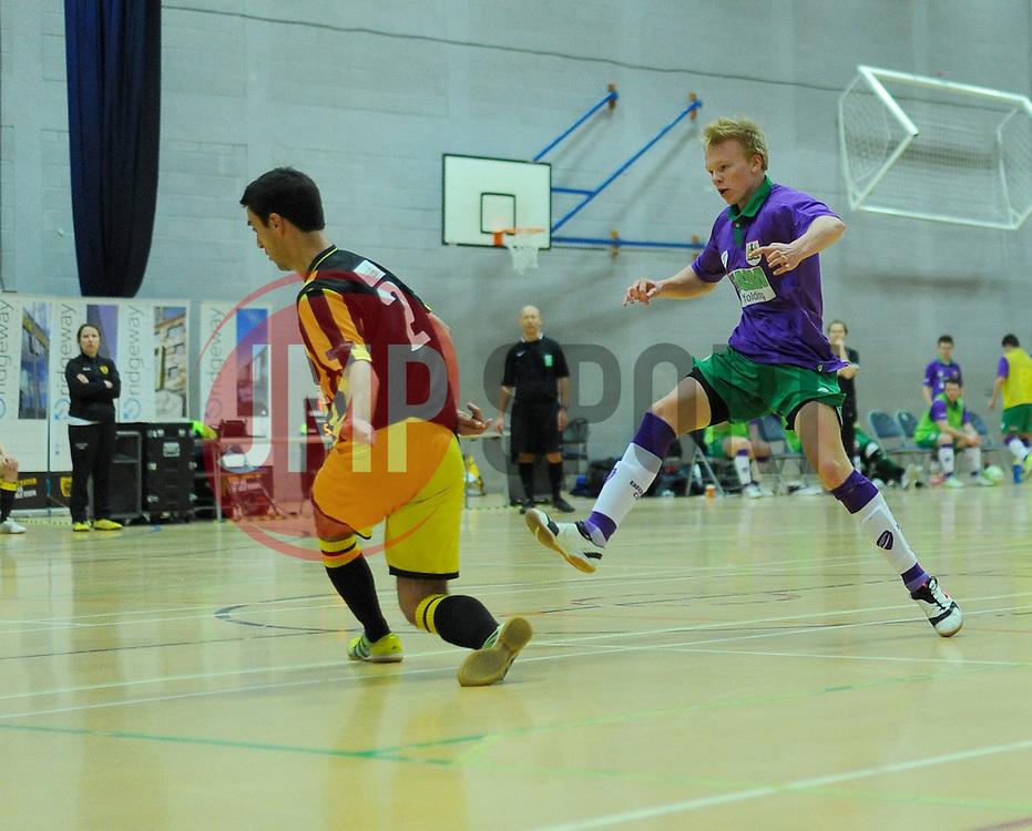 BCFC Futsal attempt a shot at goal against Gloucestershire Futsal's keeper- Photo mandatory by-line: Nizaam Jones - Mobile: 07966 386802 - 08/02/2015 - SPORT - Football - Gloucestershire - GL1 Leisure Centre - Gloucestershire Futsal v BCFC Futsal - Futsal