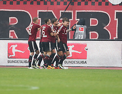 24.04.2016, Grundig Stadion, Nuernberg, GER, 2. FBL, 1. FC Nuernberg vs 1. FC Union Berlin, 31. Runde, im Bild Freude bei Nuernberg nach dem Fuehrungstreffer von Niclas Fuellkrug (1.FC Nuernberg) zum 3 zu 2 // during the 2nd German Bundesliga 31th round match between 1. FC Nuernberg vs 1. FC Union Berlin at the Grundig Stadion in Nuernberg, Germany on 2016/04/24. EXPA Pictures &copy; 2016, PhotoCredit: EXPA/ Eibner-Pressefoto/ Fudisch<br /> <br /> *****ATTENTION - OUT of GER*****