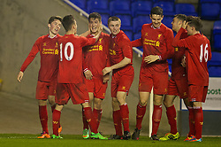 READING, ENGLAND - Wednesday, March 12, 2014: Liverpool's Harry Wilson [l] celebrates scoring the fourth goal against Reading during the FA Youth Cup Quarter-Final match at the Madejski Stadium. (Pic by David Rawcliffe/Propaganda)