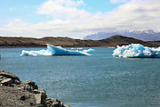 Melting glacial icebergs floating in the Jokulsarlon Lagoon, Iceland