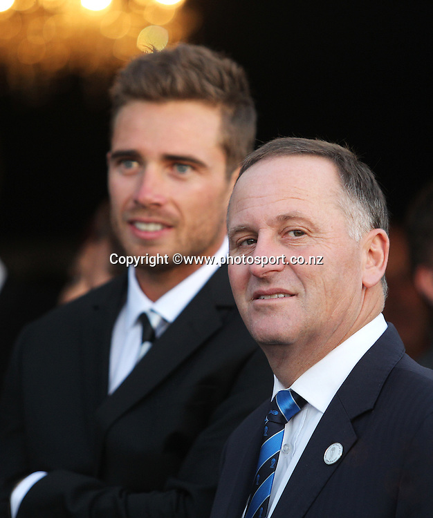 John Key, New Zealand Prime Minister talking to Tim Southee of the Black Caps during the ICC Cricket World Cup Opening Ceremony venue staged in Hagley Park, Christchurch. 12 February 2015 Photo: Joseph Johnson / www.photosport.co.nz
