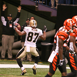 November 19, 2006; New Orleans, LA, USA; New Orleans Saints wide receiver Joe Horn (87) celebrates a touchdown against the Cincinnati Bengals during the first half of a game at the Louisiana Superdome in New Orleans, LA. Mandatory Credit: Derick E. Hingle