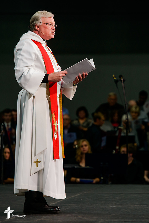 The Rev. Donald Fondow, president of the LCMS Minnesota North District, leads the Litany during the 500th Anniversary of the Reformation festival worship service on Sunday, Oct. 29, 2017, in the Gangelhoff Center at Concordia University, St. Paul, in St. Paul, Minn. The service was held in conjunction with Concordia University, St. Paul, and the Minnesota North and South Districts of the Lutheran Church-Missouri Synod. LCMS Communications/Erik M. Lunsford