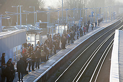 ©Licensed to London News Pictures 06/02/2020<br /> Pettswood, UK. A freezing cold morning for London commuters at Pettswood train station, Pettswood, Kent. Photo credit: Grant Falvey/LNP