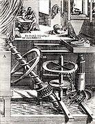 Perpetual motion:  Grinding mill driven by horizontal water wheel, which is itself driven by water from a cistern.  The wheel is supposed also to raise water to the cistern by an Archimedean screw.  The wheel, C, has curved blades, an early form of water turbine.  Engraving from 'Theatrum Machinarum Novum' by George Andreas Bockler (Nuremberg, 1673).