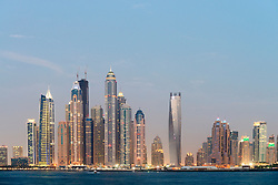 Evening panorama skyline of Marina district in Dubai United Arab Emirates