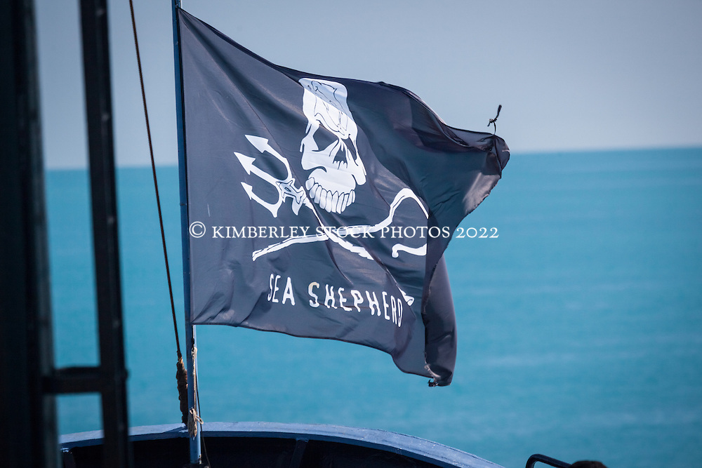 "The Sea Shepherd flag flutters in the breeze on the Steve Irwin as it steams up to James Price Point during ""Operation Kimberley Minimbii"" in August 2012."