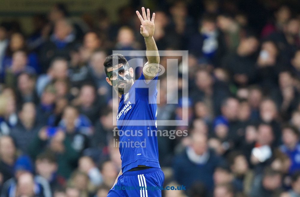 Diego Costa of Chelsea celebrates after scoring the opening goal during the FA Cup match at Stamford Bridge, London<br /> Picture by Alan Stanford/Focus Images Ltd +44 7915 056117<br /> 21/02/2016