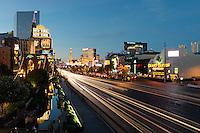 rush hour traffic on Las Vegas Strip at the blue hour, Nevada, USA