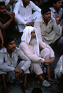 Pakistan Lahore  1986..Supporters of the Pakistan People Party at a demonstration against  U.S.A...