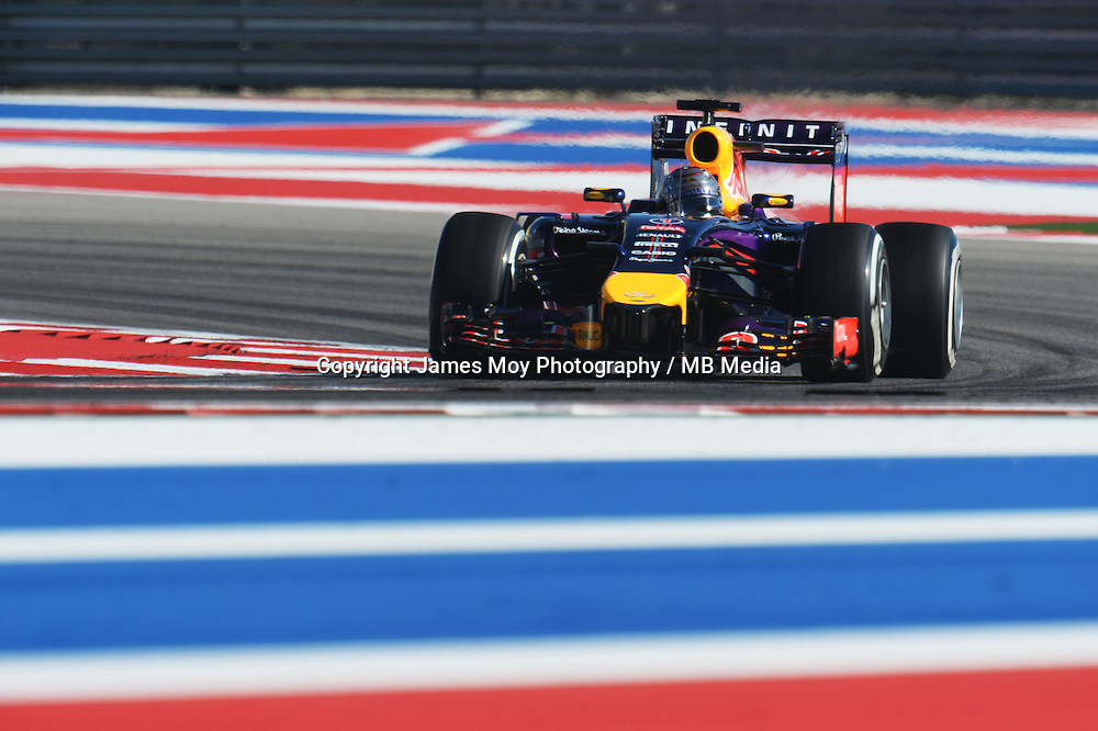 Sebastian Vettel (GER) Red Bull Racing RB10.<br /> United States Grand Prix, Friday 31st October 2014. Circuit of the Americas, Austin, Texas, USA.