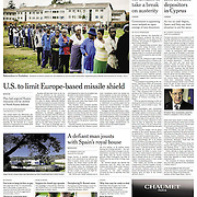 "Tearsheet of ""Boom Over, St. Patrick's Isle Is Slithering Again"" published in The International Herald Tribune (Front Page)"
