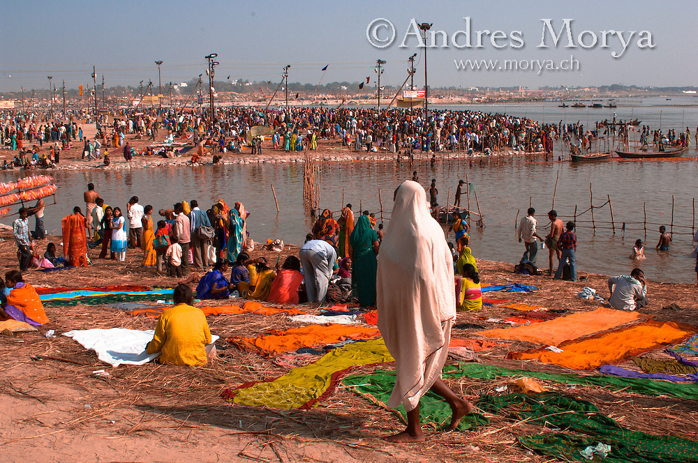 Hindu pilgrims in the Ganges at Allahabad Magh Mela in Allahabad Image by Andres Morya