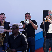 London,England,UK: 7th Aug 2016: Conjunto Sabroso preforms at the Marking the Opening of the Rio Olympics 2016,London,UK at The Scoop,London,UK. Photo by See Li