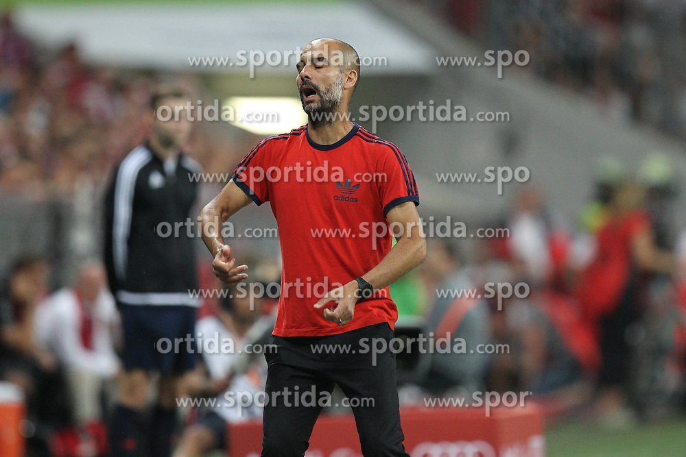 04.08.2015, Allianz Arena, Muenchen, GER, AUDI CUP, FC Bayern Muenchen vs AC Mailand, im Bild Chef-Trainer Pep Guardiola (FC Bayern Muenchen) // during the 2015 AUDI Cup Match between FC Bayern Muenchen and AC Mailand at the Allianz Arena in Muenchen, Germany on 2015/08/04. EXPA Pictures &copy; 2015, PhotoCredit: EXPA/ Eibner-Pressefoto/ Kolbert<br /> <br /> *****ATTENTION - OUT of GER*****
