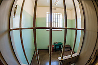 The prison cell where former President of South Africa Nelson Mandela was imprisoned on Robben Island for 18 of the 27 years he served behind bars before the fall of apartheid. Robben Island is in Table Bay off Cape Town, South Africa.