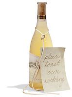 Fumé Blanc Reserve bottle wedding toast on white background