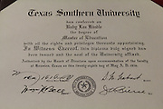 Ruby Lea Pope (nee Kindle)'s degree from Texas Southern University.