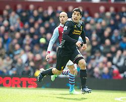BIRMINGHAM, ENGLAND - Easter Sunday, March 31, 2013: Liverpool's Luis Alberto Suarez Diaz in action against Aston Villa during the Premiership match at Villa Park. (Pic by David Rawcliffe/Propaganda)