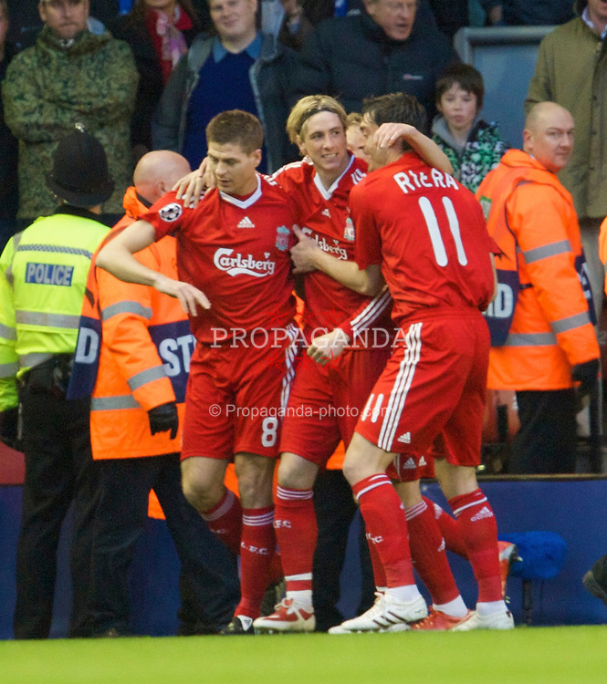 LIVERPOOL, ENGLAND - Wednesday, April 8, 2009: Liverpool's Fernando Torres celebrates scoring the opening goal against Chelsea during the UEFA Champions League Quarter-Final 1st Leg match at Anfield. (Photo by David Rawcliffe/Propaganda)