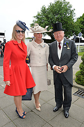 Left to right, the HON.ALICE BAMFORD and her parents LORD & LADY BAMFORD at the Investec Derby at Epsom Racecourse, Epsom, Surrey on 4th June 2016.