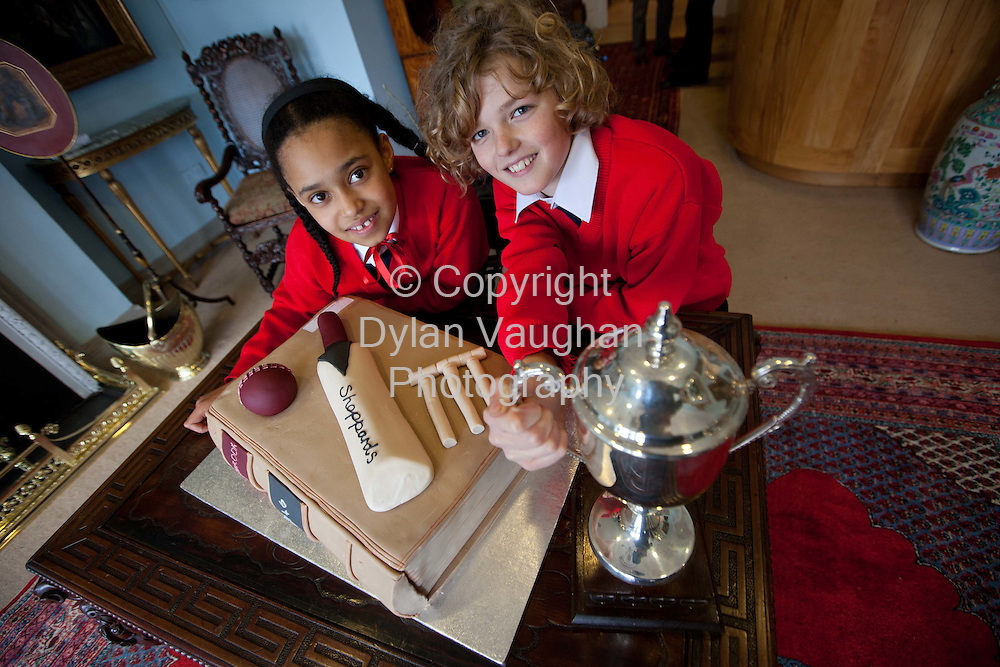 28/2/2012.Nicola Ryan and Fionn Whelan from Our Lady's Meadow National School in Durrow Co Laois pictured at Sheppard's Irish Auction House yesterday where they were given a private viewing of the Ashbrook Union Cricket Club (Castle Durrow) manuscript journal..Picture Dylan Vaughan Photography.