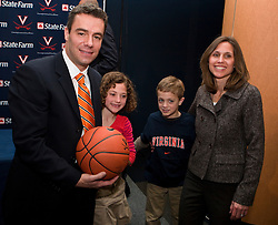 Tony Bennett with daughter Anna, son Eli, and wife Laurel at a press conference.  Tony Bennett was introduced at the new head coach of the University of Virginia's men's basketball program at a press conference held at the John Paul Jones Arena in Charlottesville, VA on April 1, 2009.