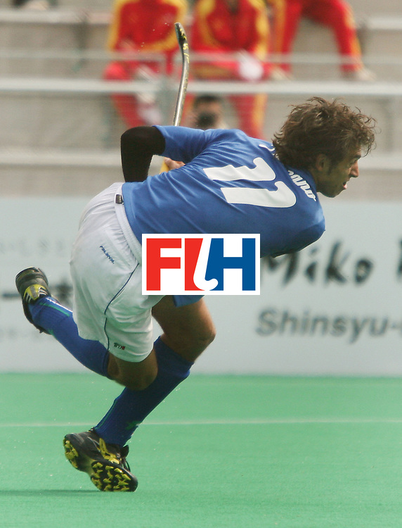 Kakamigahara (Japan): Massimo Laznzano of Italy who scored two goals against Switzerland on the final day of the Olympic Hockey Qualifier at Gifu Perfectural Green Stadium at Kakamigahara on 13 April 2008. Italy beat Switzerland <br /> 3-2 and was placed fifth in the tournament.<br /> Photo: GNN/ Vino John