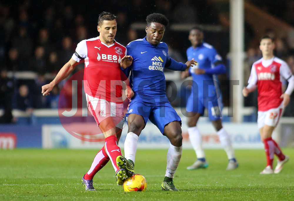 Jermaine Anderson of Peterborough United in action with Antoni Sarcevic of Fleetwood Town - Mandatory byline: Joe Dent/JMP - 07966 386802 - 14/11/2015 - FOOTBALL - ABAX Stadium - Peterborough, England - Peterborough United v Fleetwood Town - Sky Bet League One